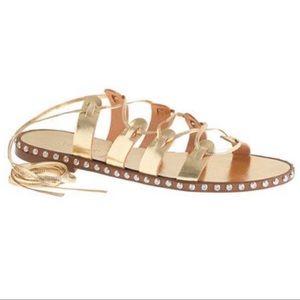 J Crew Studded Wrap Ankle Sandals Gold Gladiator